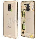 Abbildung zeigt Original Galaxy A6 2018 (SM-A600F) Rückschale gold mit Kameraglas + Fingerprint