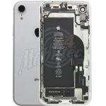 Abbildung zeigt iPhone XR Premium Rückschale weiß voll bestückt +Kameraglas